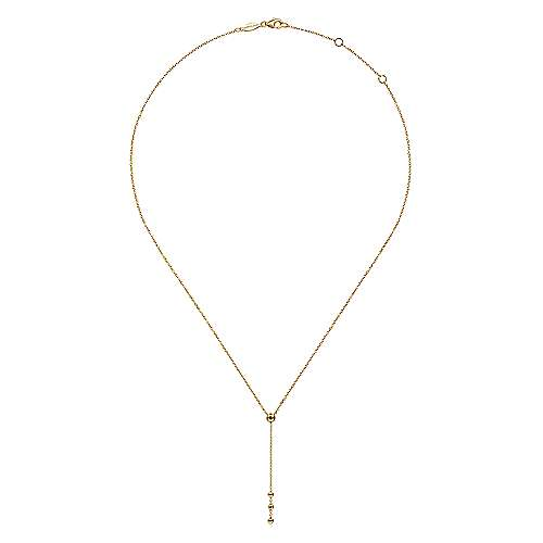 14K Yellow Gold Bujukan Bead Station Y Drop Necklace