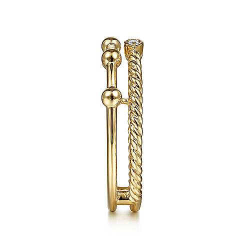 14K Yellow Gold Bujukan Bead Station and Twisted Rope Diamond Ring
