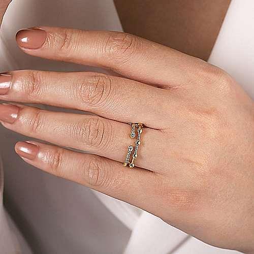 14K Yellow Gold Bujukan Bead Station and Twisted Rope Diamond Ring