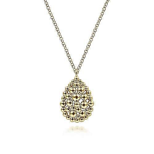 14K Yellow Gold Bujukan Bead Teardrop Pendant Necklace