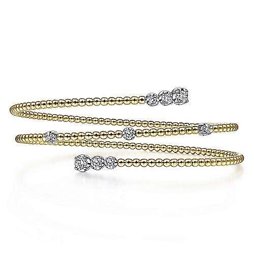 14K Yellow Gold Bujukan Bead Wrap Bracelet with White Gold Diamond Stations