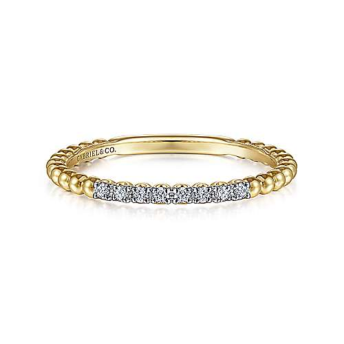 14K Yellow Gold Bujukan Bead and Diamond Stackable Ring