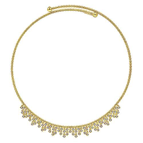14K Yellow Gold Bujukan Beaded Choker Necklace with Bezel Set Diamond Clusters