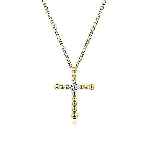14K Yellow Gold Bujukan Beaded Diamond Cross Pendant Necklace