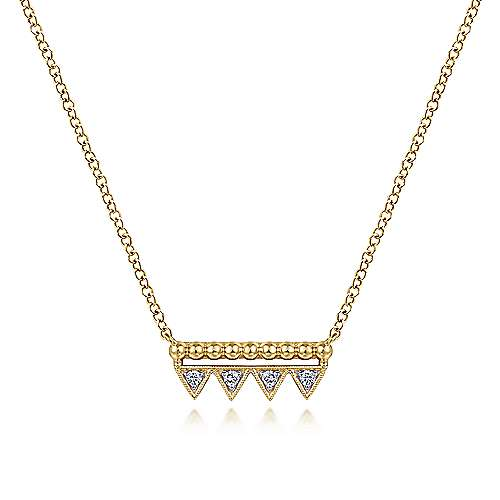 14K Yellow Gold Bujukan Beaded Diamond Triangle Bar Necklace