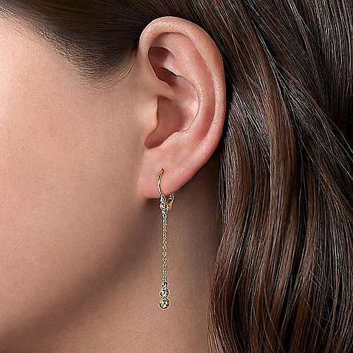 14K Yellow Gold Bujukan Beaded Long Chain Drop Earrings