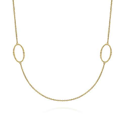 14K Yellow Gold Bujukan Beaded Oval Station Necklace