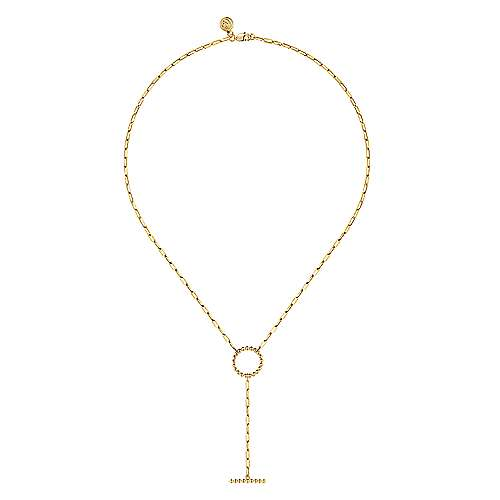 14K Yellow Gold Bujukan Circle Necklace with Paperclip Chain