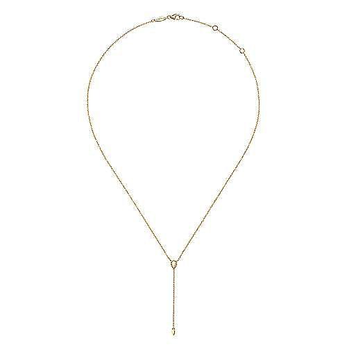 14K Yellow Gold Bujukan Lariat Necklace