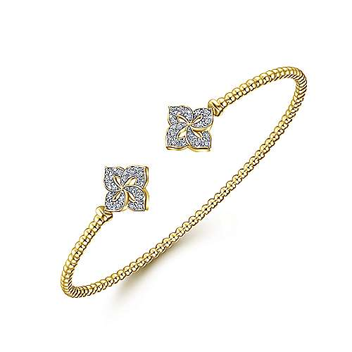 14K Yellow Gold Bujukan Split Cuff Bracelet with Diamond Flower Caps