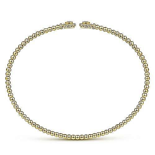 14K Yellow Gold Bujukan Split Cuff Bracelet with Diamond Flower Caps