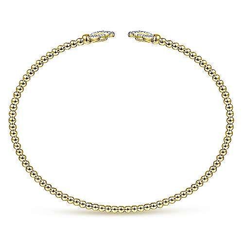 14K Yellow Gold Bujukan Split Cuff Bracelet with Diamond Pavé Fan Caps