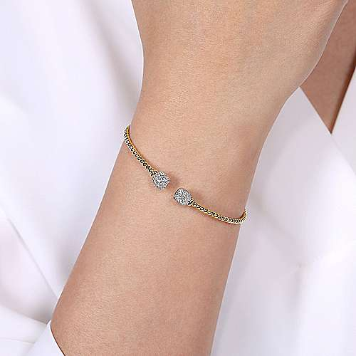 14K Yellow Gold Bujukan Split Cuff Bracelet with Pavé Diamond Squares