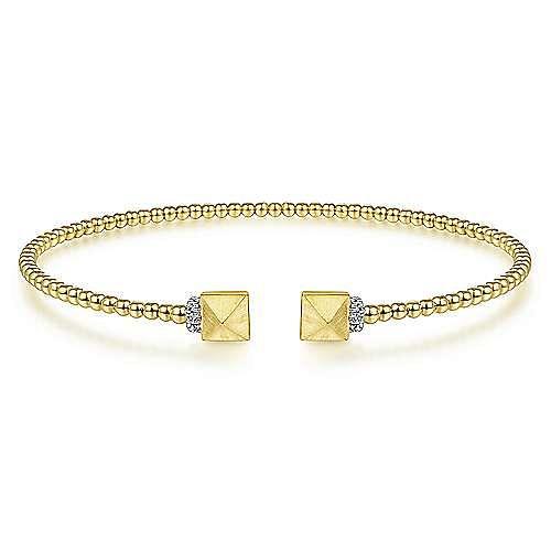 14K Yellow Gold Bujukan Split Cuff Bracelet with Pyramid and Diamond Caps