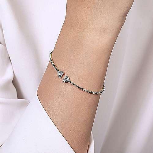 14K Yellow Gold Bujukan Split Cuff Bracelet with White Gold Pavé Diamond Hearts