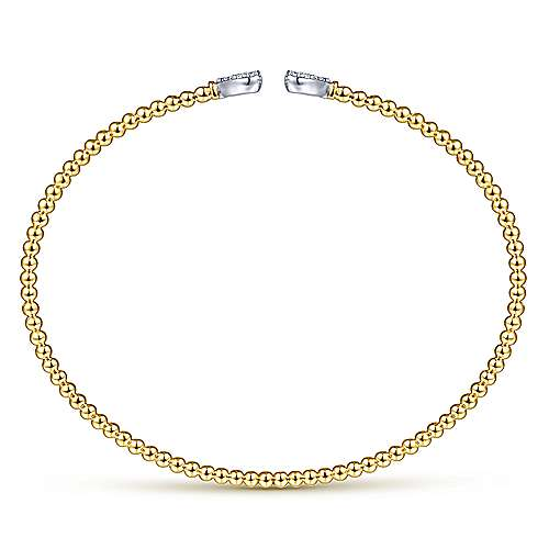 14K Yellow Gold Bujukan Split Cuff Bracelet with White Gold Pavé Diamond Hearts