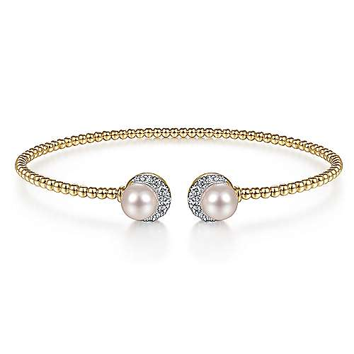 14K Yellow Gold Bujukan Split Cuff with Pearl and Diamond Halo Caps