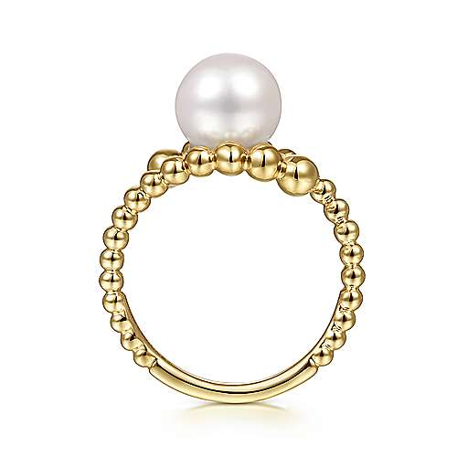 14K Yellow Gold Bypass Bujukan Pearl Ring