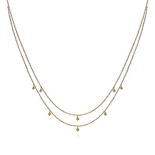 14K Yellow Gold Casted Drops Necklace