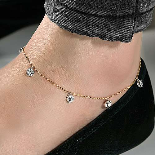 14K Yellow Gold Chain Ankle Bracelet with Round White Gold Diamond Drops