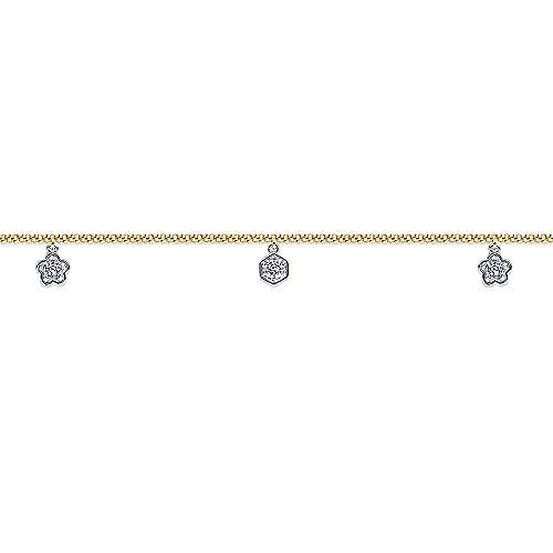 14K Yellow Gold Chain Ankle Bracelet with White Gold Diamond Hexagon and Flower Charms