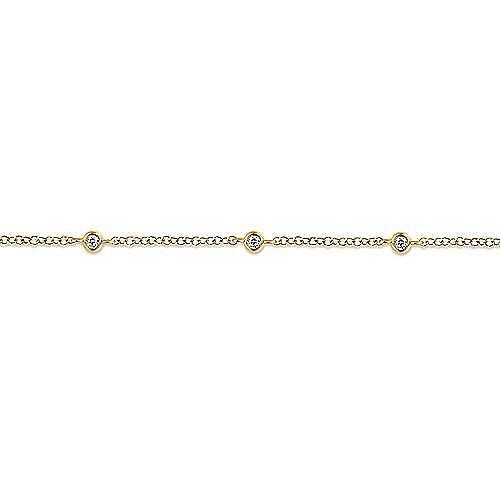 14K Yellow Gold Chain Bracelet with Bezel Set Diamond Stations
