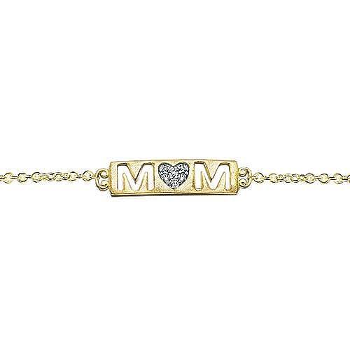 14K Yellow Gold Chain Bracelet with Diamond Pavé