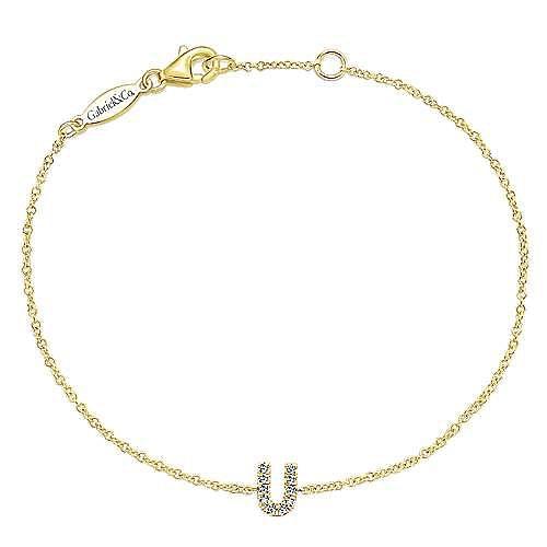 14K Yellow Gold Chain Bracelet with Diamond