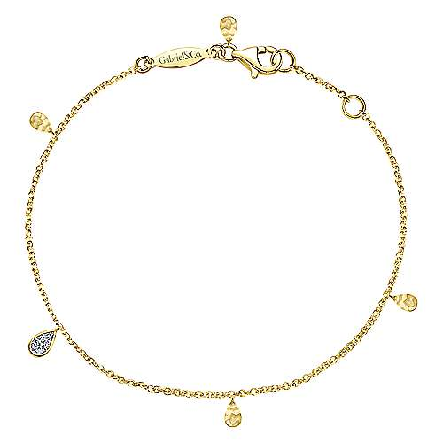 14K Yellow Gold Chain Bracelet with Hammered and Diamond Teardrops