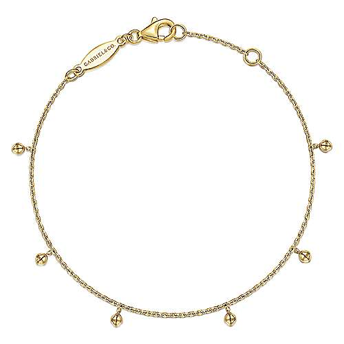 14K Yellow Gold Chain Bracelet with Metal Bead Drops