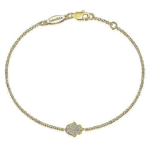 14K Yellow Gold Chain Bracelet with Pavé Diamond Hamsa