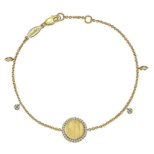 14K Yellow Gold Chain Engravable Bracelet angle 1