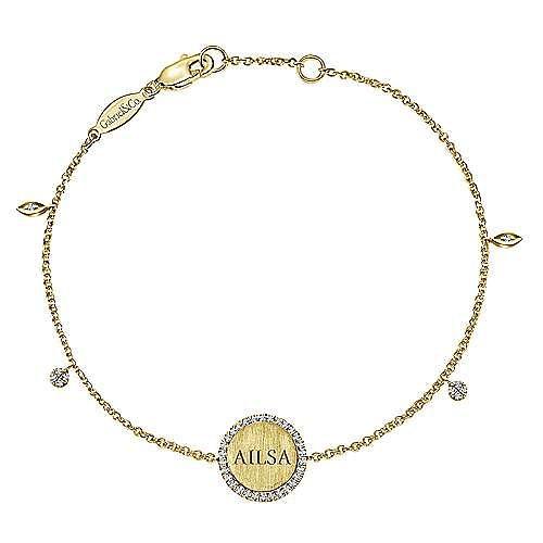 14K Yellow Gold Chain Engravable Bracelet angle 2