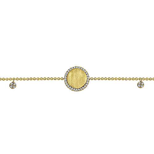 14K Yellow Gold Chain Engravable Bracelet angle 3