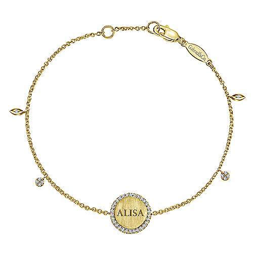 14K Yellow Gold Chain Engravable Bracelet angle 5