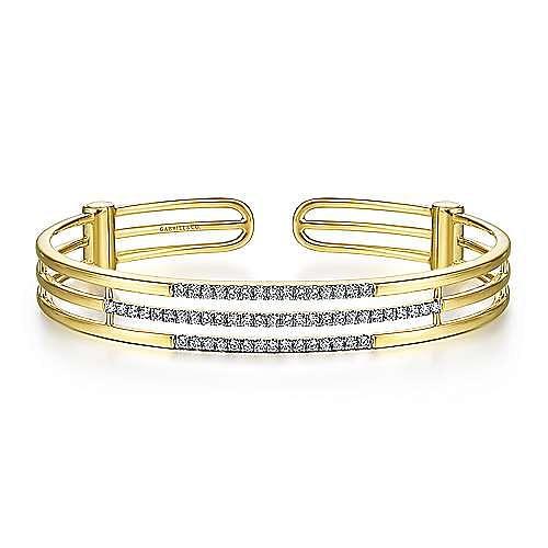 14K Yellow Gold Chain Link Bangle with Diamond Frame