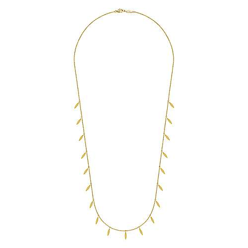 14K Yellow Gold Chain Necklace with Marquise Shaped Drops