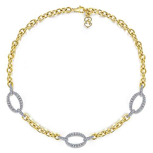 14K Yellow Gold Chain Necklace with Oval Diamond Pavé White Gold Link Stations