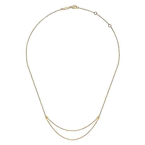 14K Yellow Gold Chain Swag Necklace
