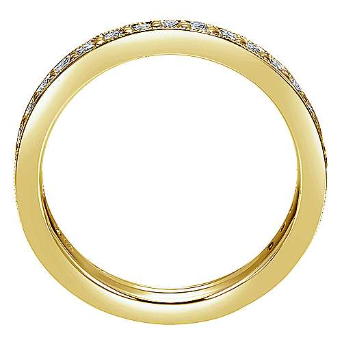 14K Yellow Gold Channel Prong Diamond Eternity Band with Millgrain
