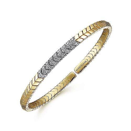 14K Yellow Gold Chevron Cuff Bracelet with White Gold Diamond Pavé Station