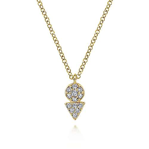 14K Yellow Gold Circle and Triangle Diamond Cluster Pendant Necklace