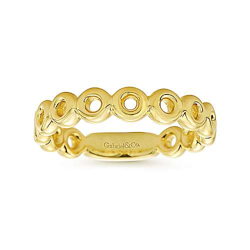14K Yellow Gold Circles Stackable Band