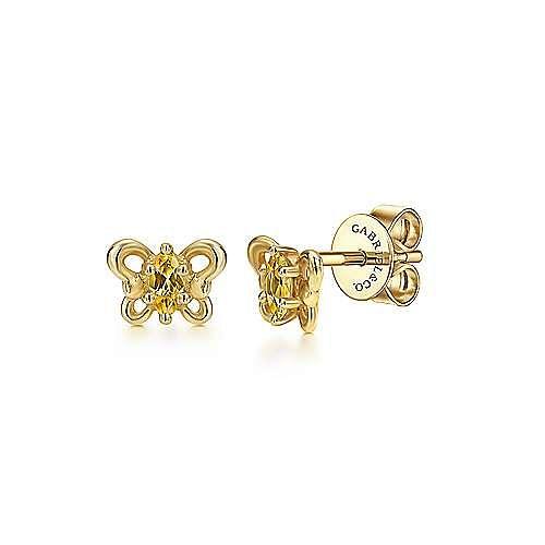 14K Yellow Gold Citrine Butterfly Stud Earrings