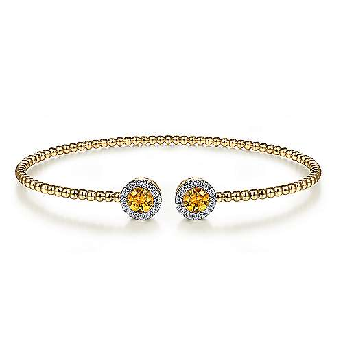 14K Yellow Gold Citrine and Diamond Open Bangle