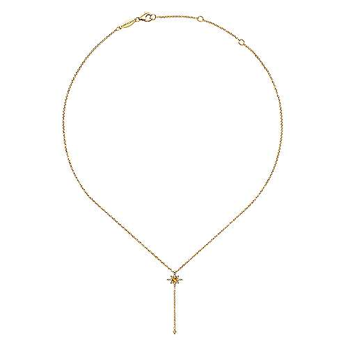 14K Yellow Gold Citrine and Diamond Star Y Necklace with Diamond Drop