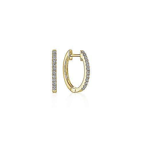 14K Yellow Gold Classic 10mm Pave Diamond Huggie Earrings