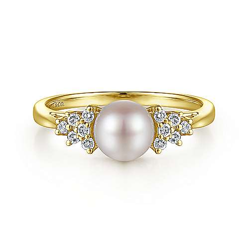 14K Yellow Gold Classic Cultured Pearl Diamond Accented Stackable Ring