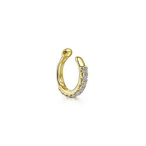 14K Yellow Gold Classic Diamond Ear Cuff Earring