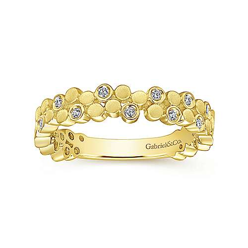 14K Yellow Gold Cluster Bubble Ring Band with Diamond Stations